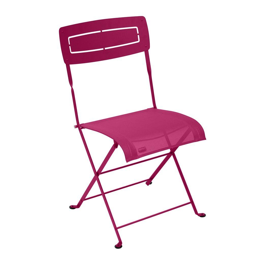 Chaise pliante fermob slim acier textil ne fuschia for Fushia exterieur