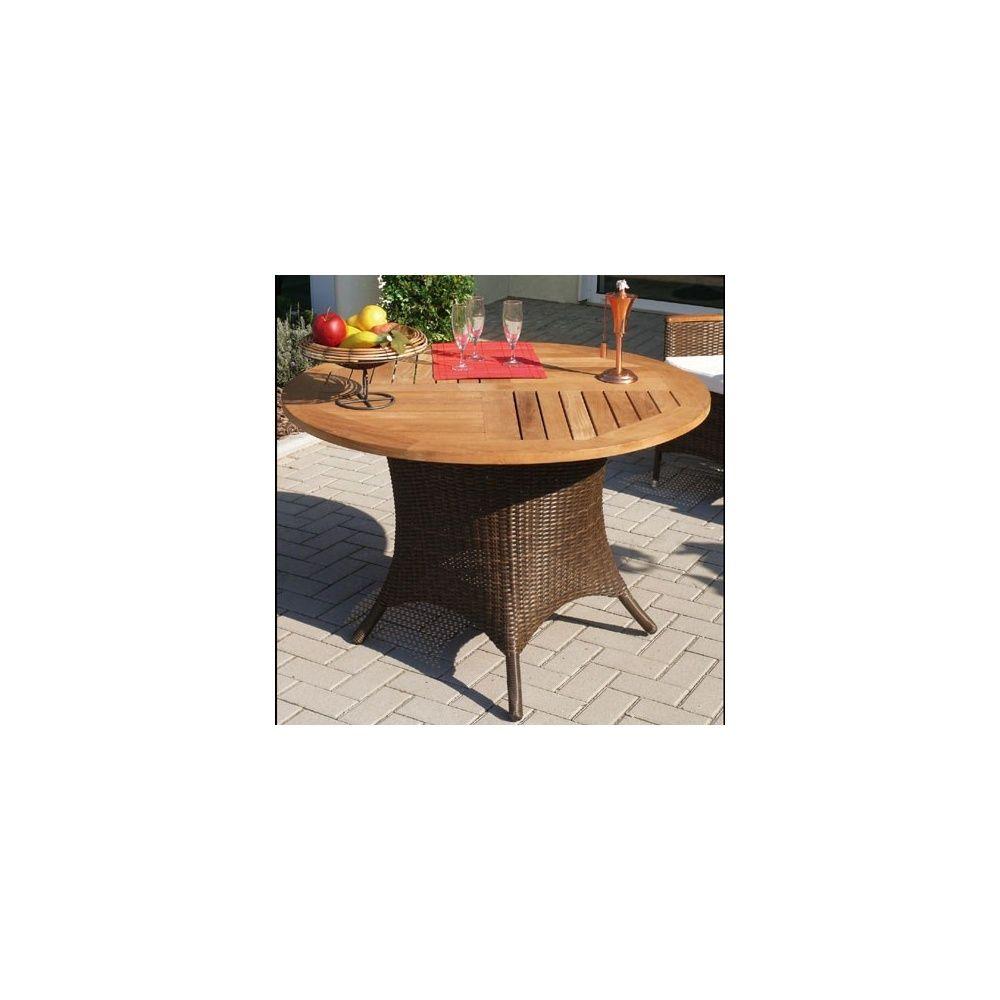 table de jardin ronde avec plateau en teck et pieds en osier polypro dream garden plantes et. Black Bedroom Furniture Sets. Home Design Ideas
