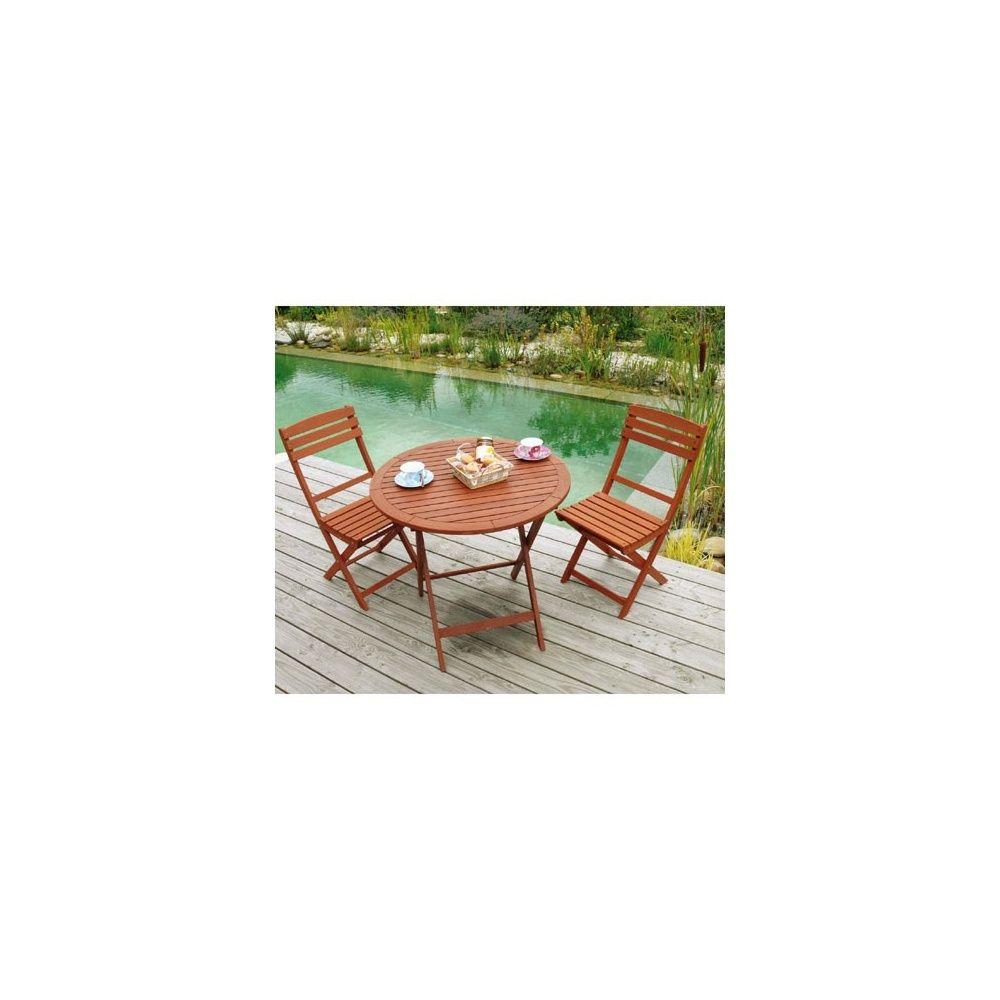 Salon de jardin en bois keruing: Table pliante ronde Diam 80 x 74 ...