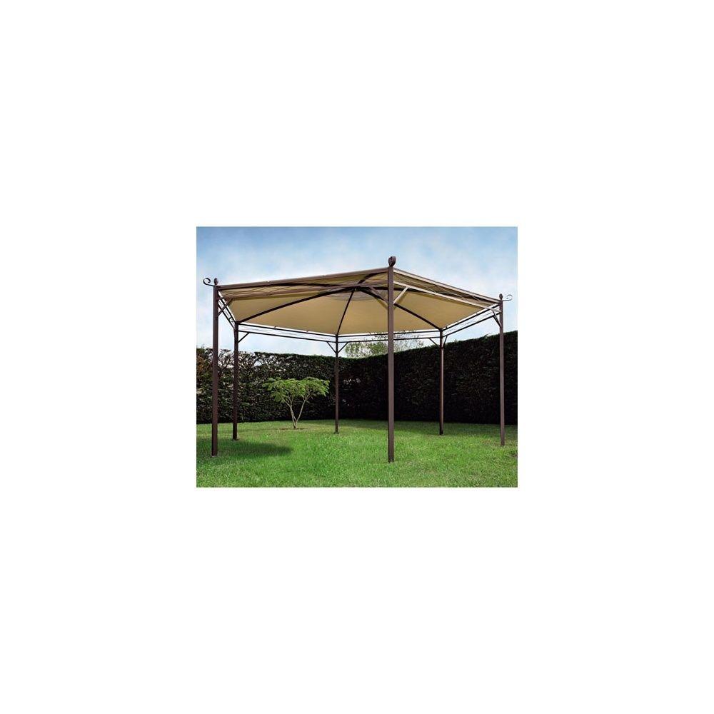 Tonnelle privil ge hexagonale en acier et toile 400 gr m pvc proloisirs plantes et jardins - Tonnelle acier ...