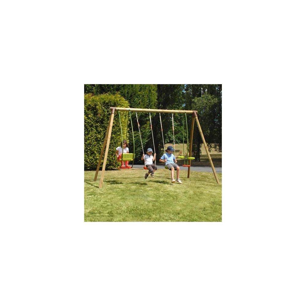 portique bois safran avec 2 balan oires 1 vis vis 1 balancelle plantes et jardins. Black Bedroom Furniture Sets. Home Design Ideas