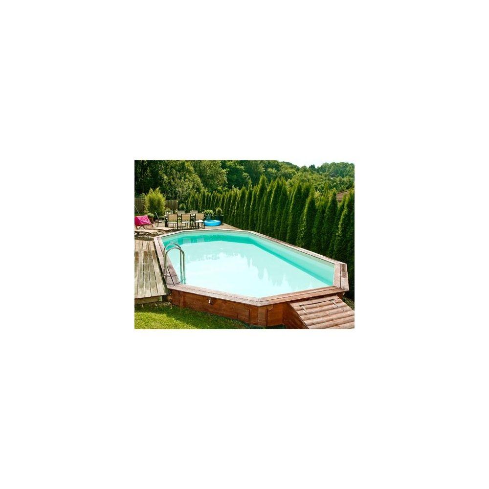 Piscine Confort de Luxe 602 x 352 cm Margelle double bois exotique Liner Bleu Plantes  # Margelle Piscine Bois Exotique