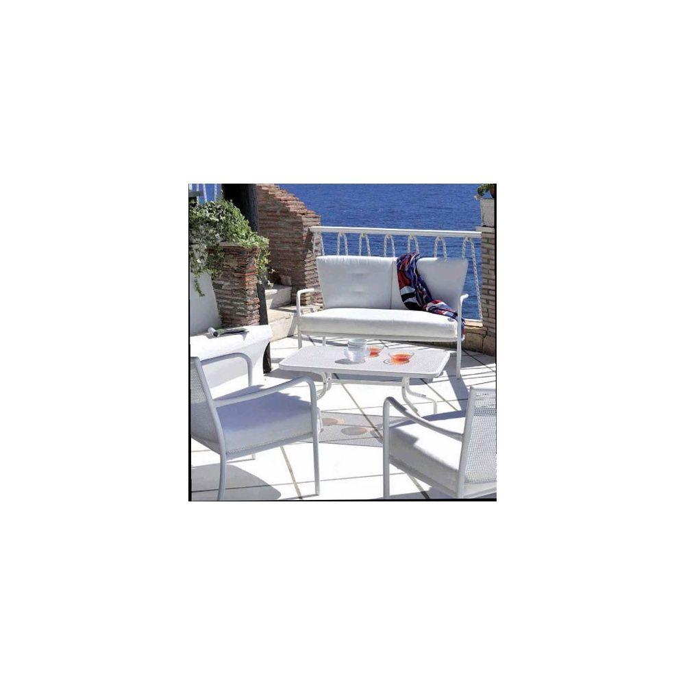 canap de jardin bas athena 2 places en acier vernis coloris blanc emu plantes et jardins. Black Bedroom Furniture Sets. Home Design Ideas