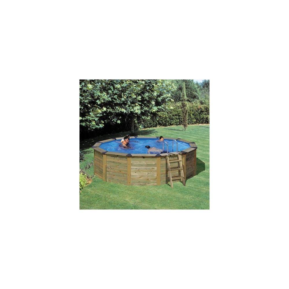 Kit piscine acier et habillage bois san marina nature for Piscine acier ou bois