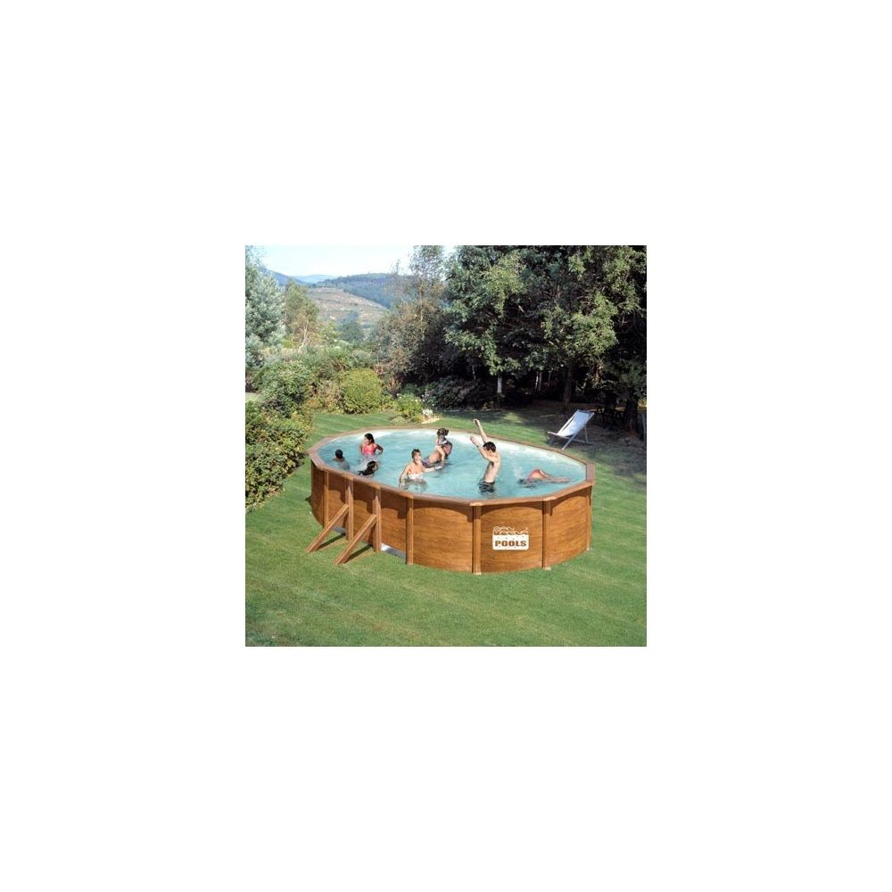 Kit piscine san marina acier aspect bois 500 x 300 x h for Kit piscine acier