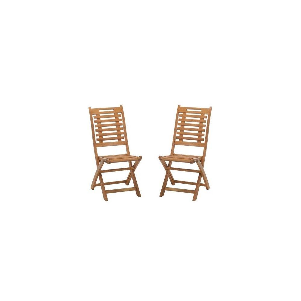 Lot de 2 chaises pliables en bois exotique lake sylva for Chaises pliables