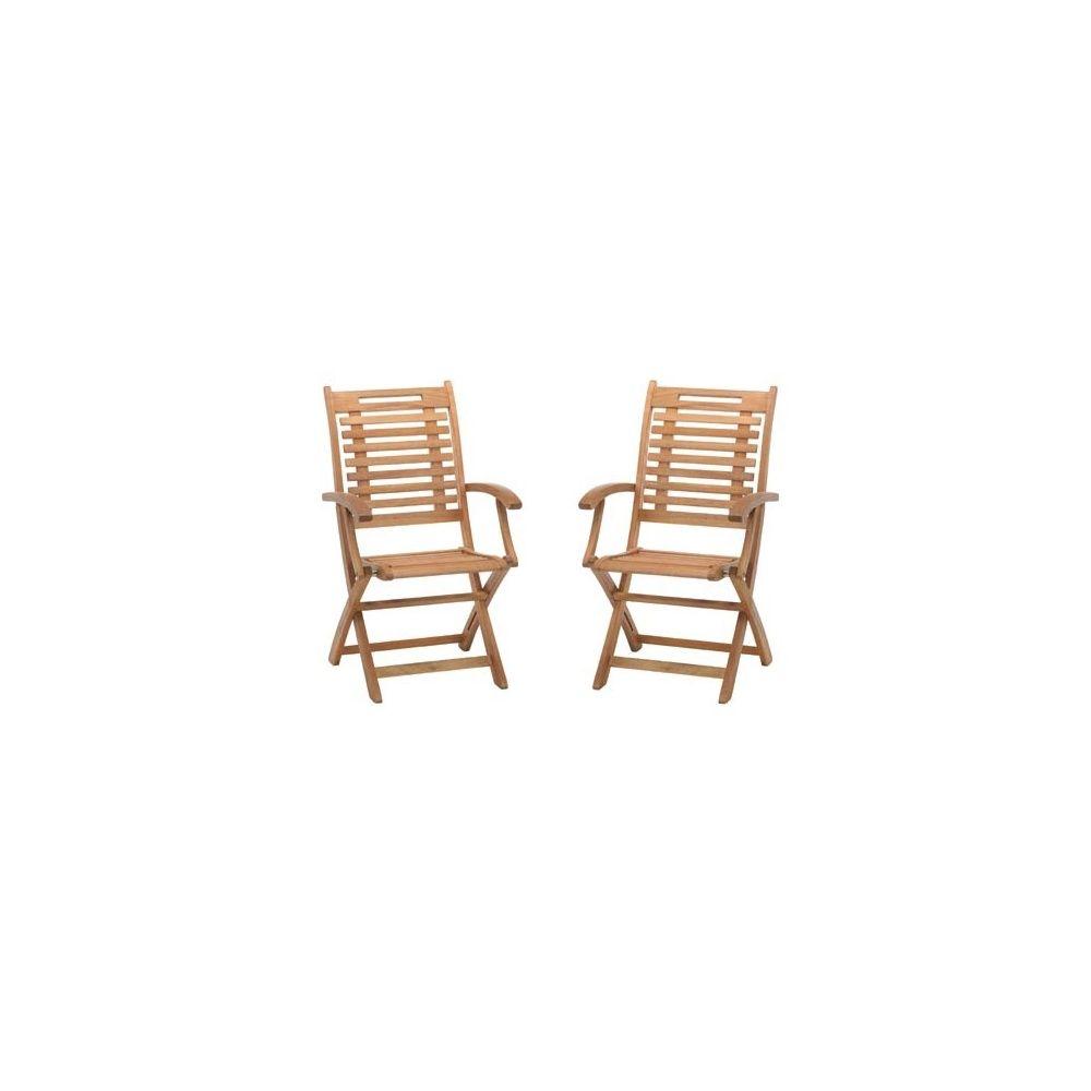 Lot de 2 chaises avec accoudoirs en bois exotique lake sylva plantes et jar - Chaise en bois exotique ...