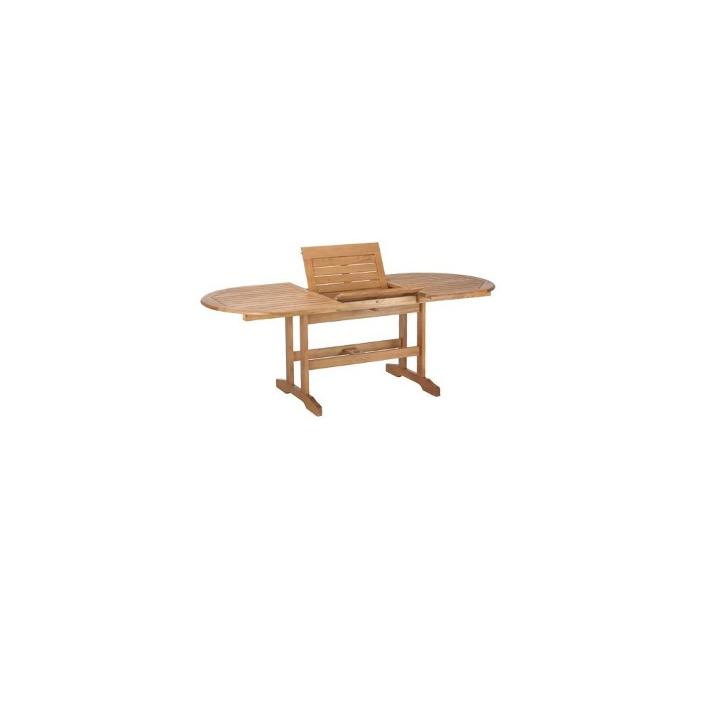 Table ovale rallonges en bois exotique lake sylva for Table en bois exotique