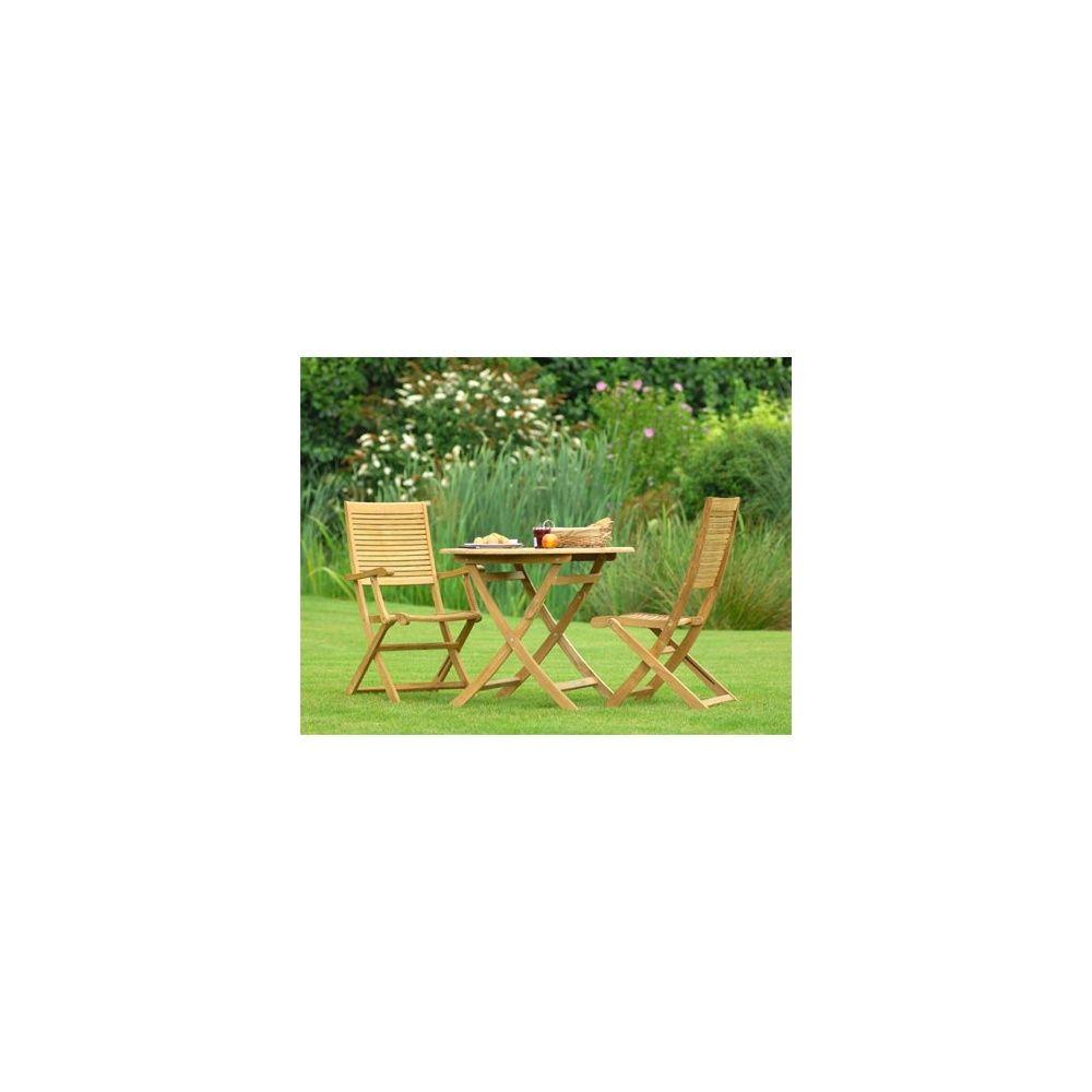 Salon de jardin en teck fsc 2 places table diam tre 90 cm for Salon de jardin 2 places