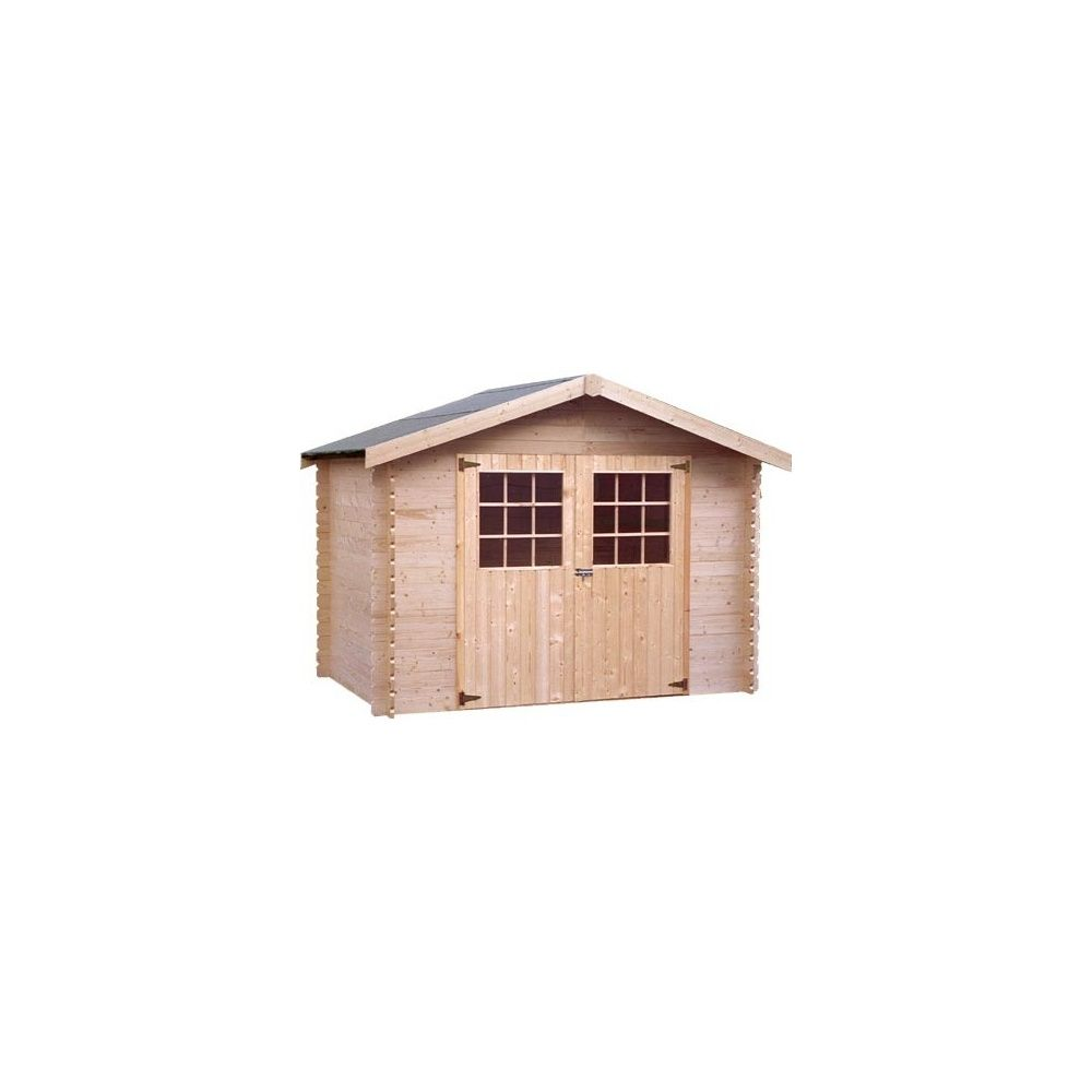 Abri de jardin m2 bois 28 mm double porte pefc for Abri de jardin 8 m2