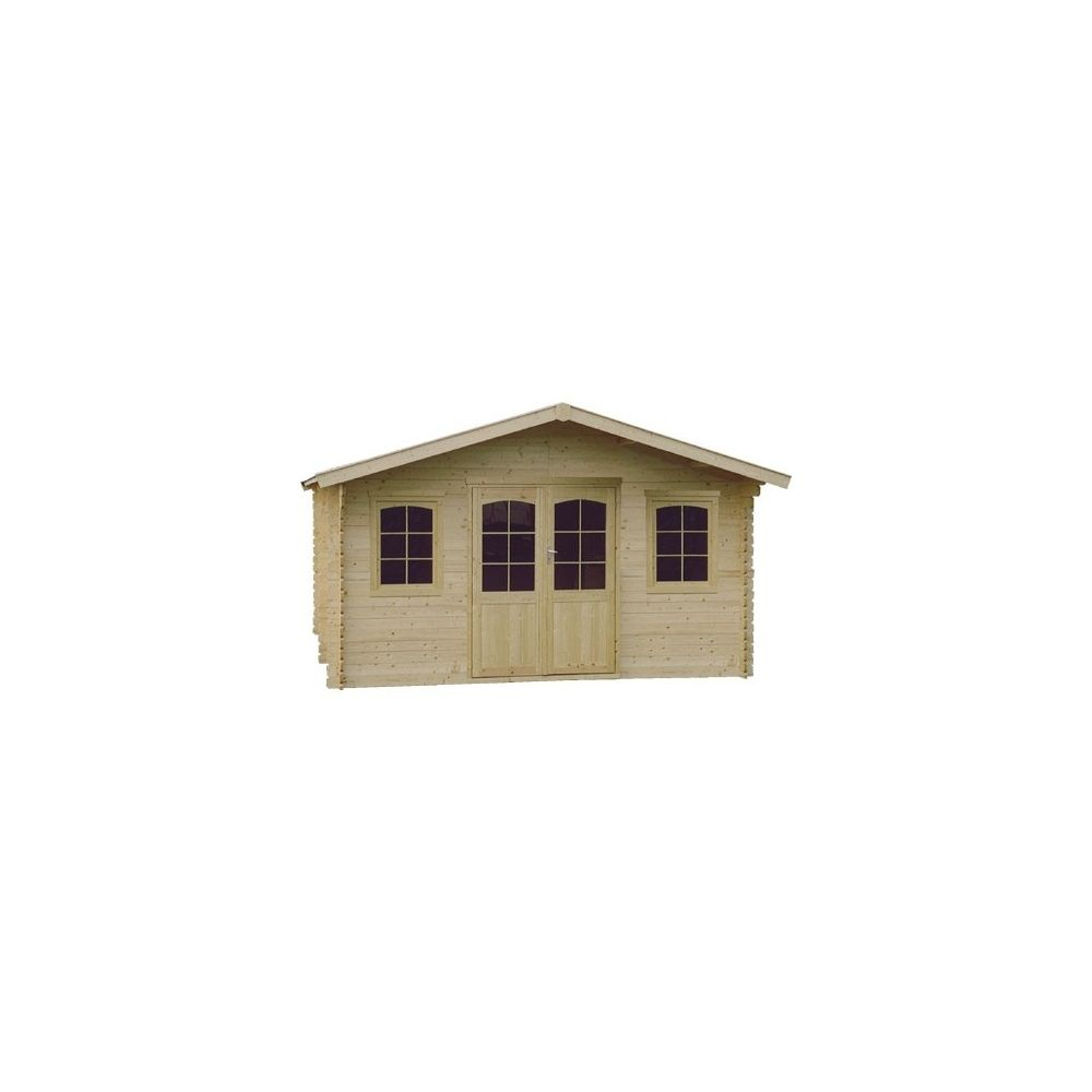 Abri de jardin 19 m2 bois 44 mm pefc t5 double porte for Porte abri de jardin en bois