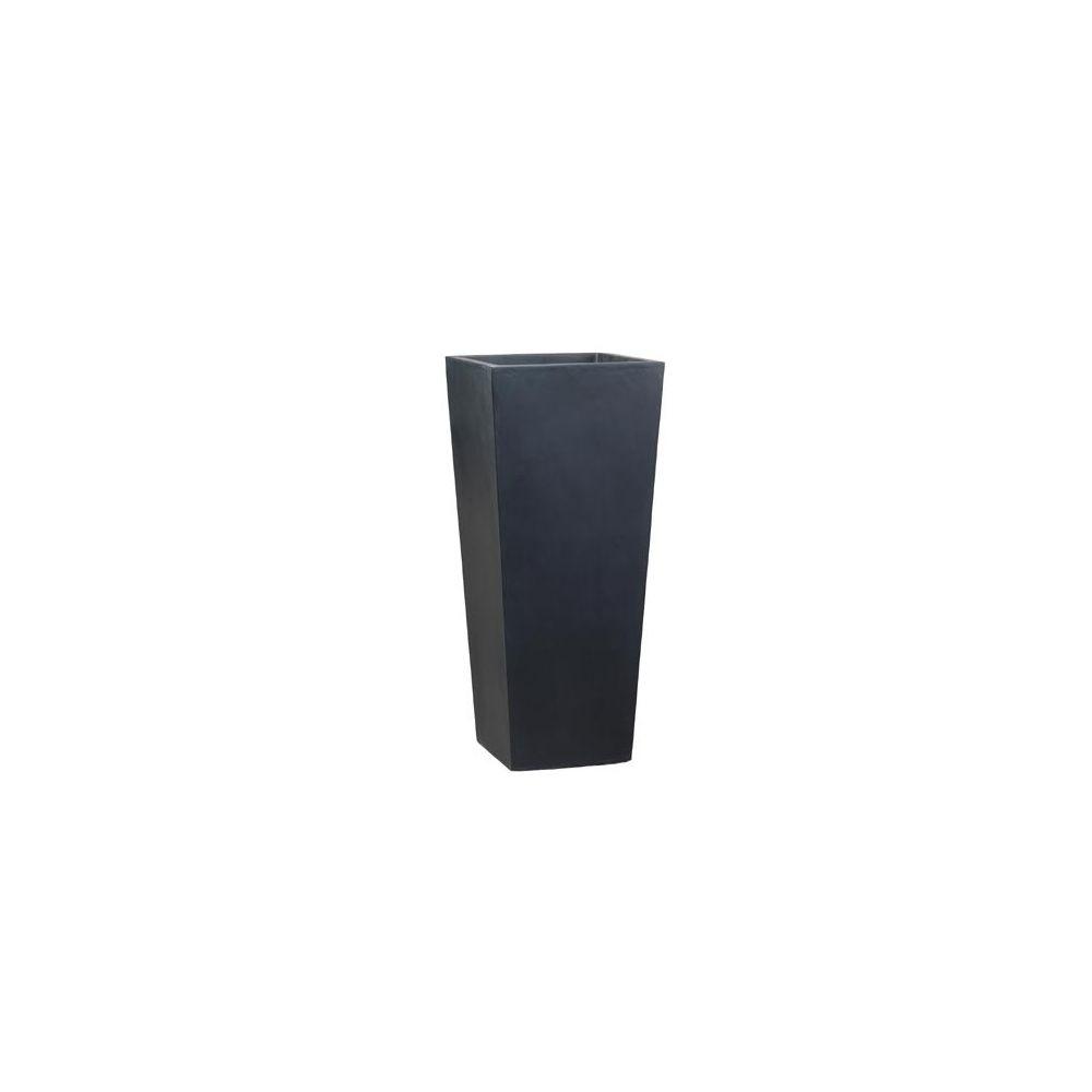 pot haut carr fibre de verre noir c t 48 x h 100 cm. Black Bedroom Furniture Sets. Home Design Ideas