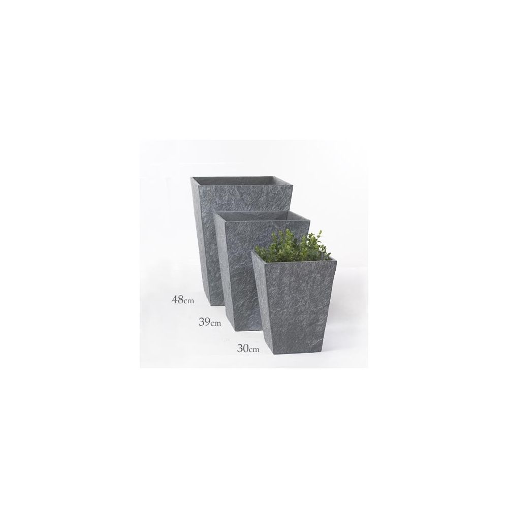 pot haut carr fibre ciment gris h 39 cm plantes et. Black Bedroom Furniture Sets. Home Design Ideas