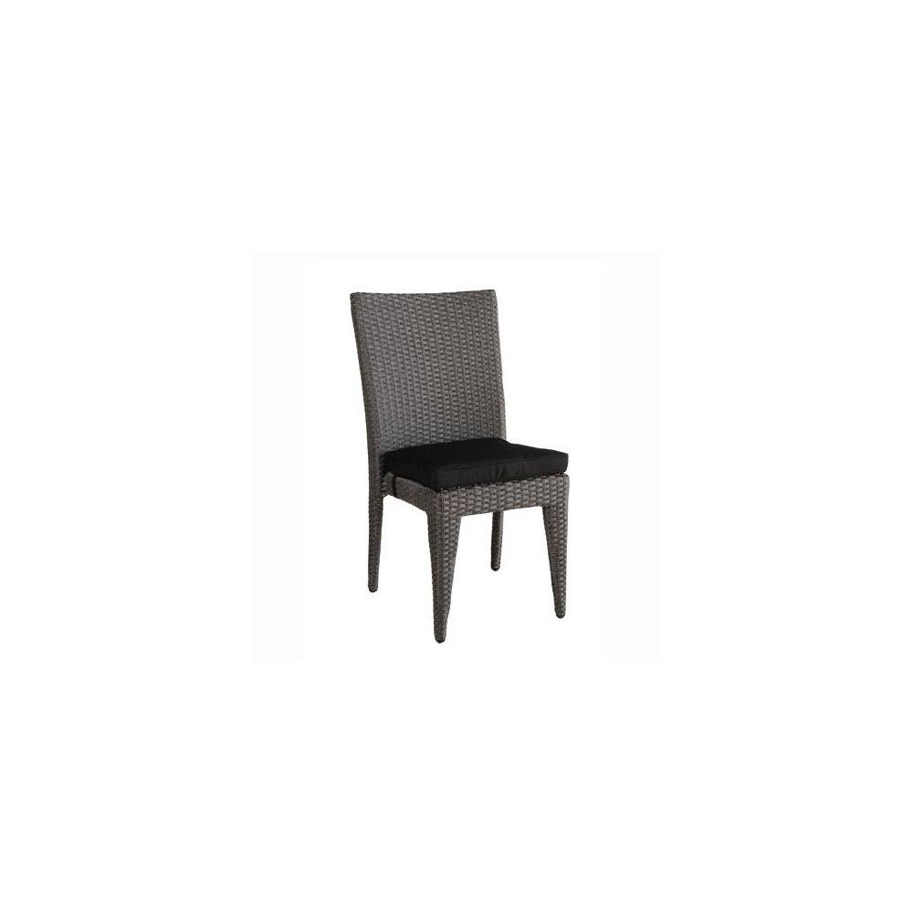 Chaise de jardin salsa en r sine tress e gris sans le coussin plantes e - Chaise resine tressee ...