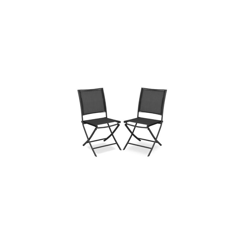 chaise de jardin pliante ajoupa acier textil ne gris noir lot de 2 plantes et jardins. Black Bedroom Furniture Sets. Home Design Ideas