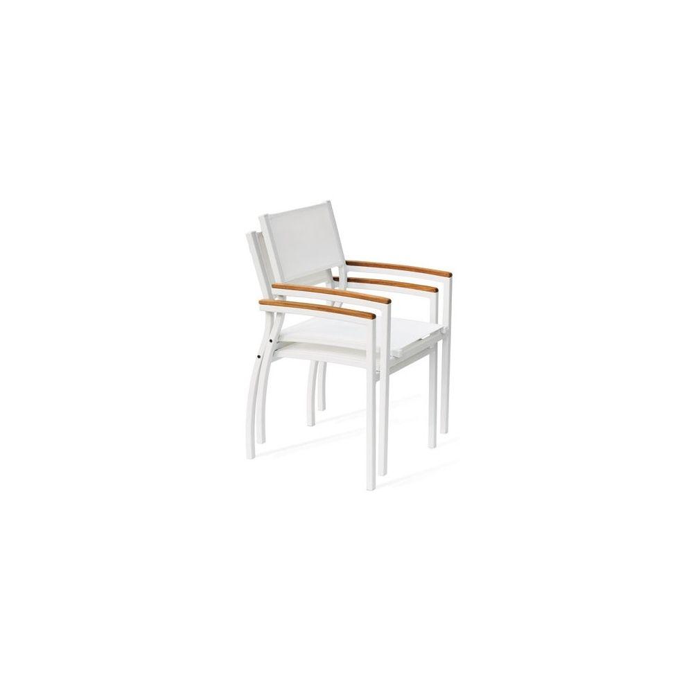 Fauteuil aluminium textil ne blanc accoudoirs imitation - Fauteuil jardin aluminium textilene ...