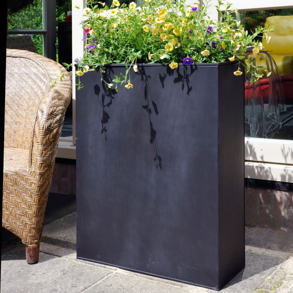 bac fleurs acier l60 h76 cm noir plantes et jardins. Black Bedroom Furniture Sets. Home Design Ideas