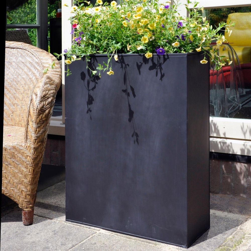 bac fleurs acier l80 h92 cm noir plantes et jardins. Black Bedroom Furniture Sets. Home Design Ideas
