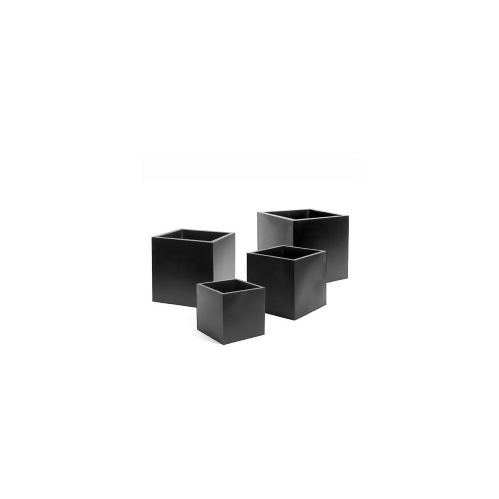 pot cube en zinc enduit noir 50 x h 50 cm plantes et jardins. Black Bedroom Furniture Sets. Home Design Ideas