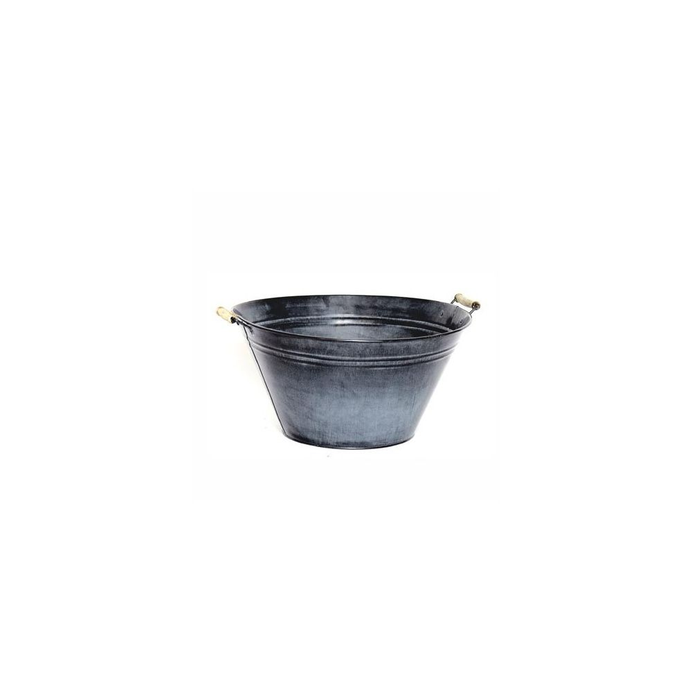 grande bassine en zinc avec poign es d 39 x h 20 cm plantes et jardins. Black Bedroom Furniture Sets. Home Design Ideas
