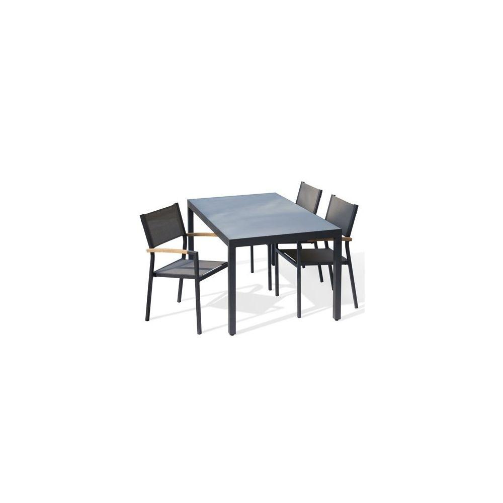 Salon De Jardin 4 Convives Table Plateau En Verre 4 Fauteuils En Textil Ne Empilables