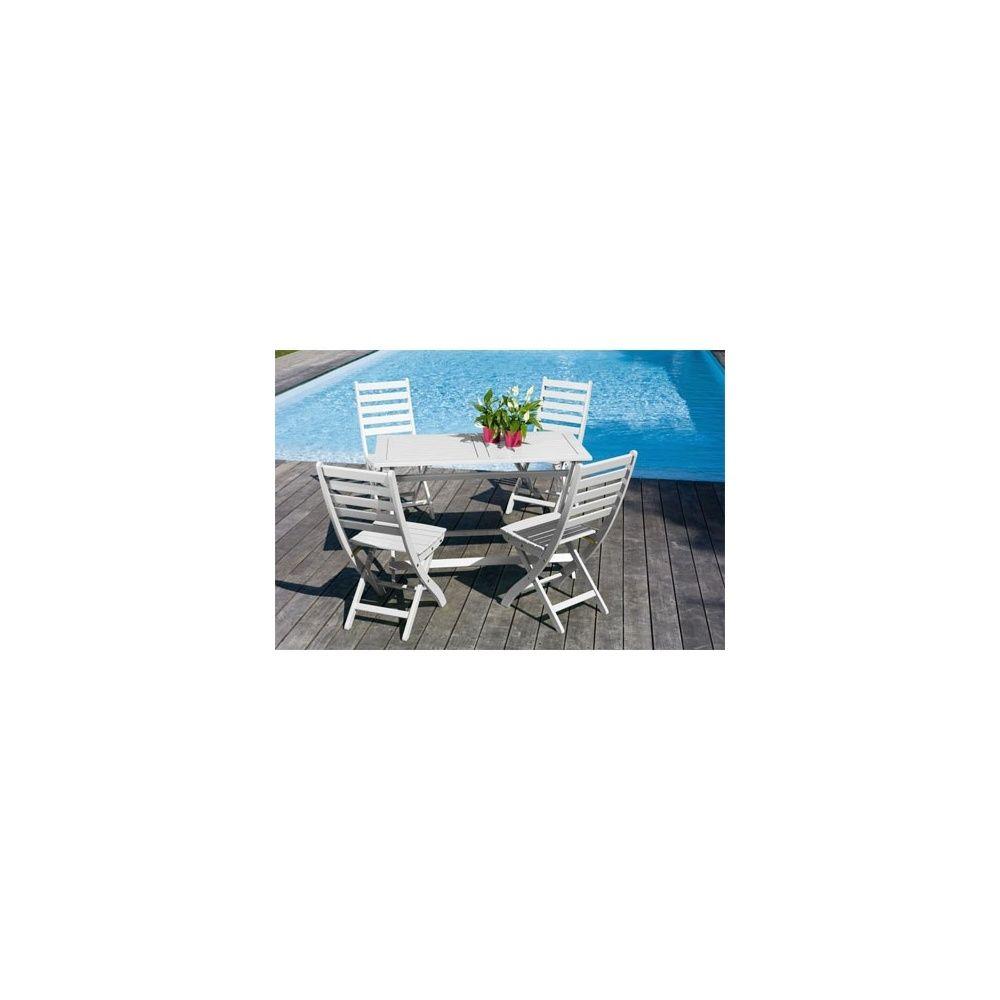 Salon De Jardin 4 Personnes Bois Blanc Table Balcon 120 X 60 Cm Plantes Et Jardins