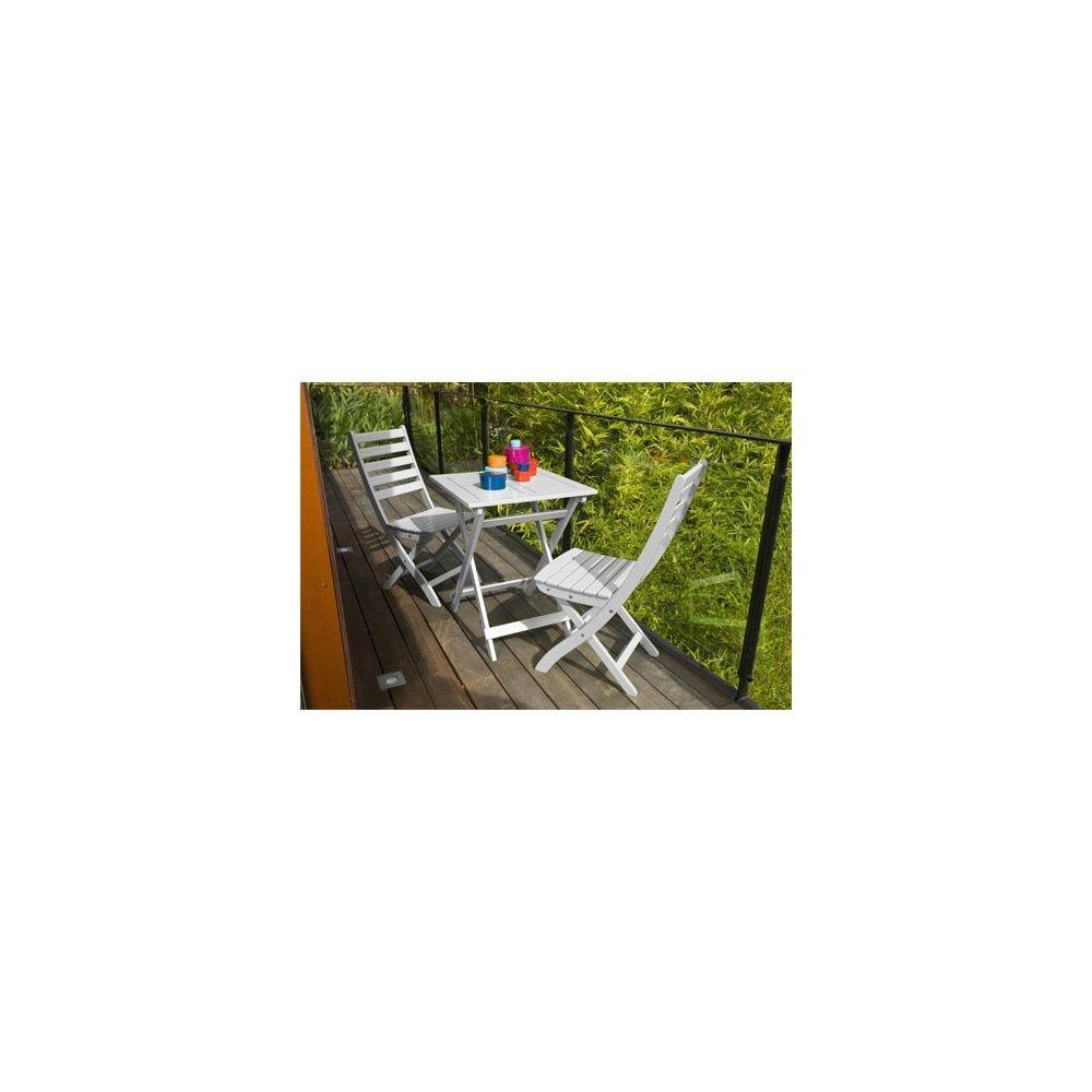 salon de jardin 2 personnes bois blanc table balcon 60 x 60 cm plantes et jardins. Black Bedroom Furniture Sets. Home Design Ideas