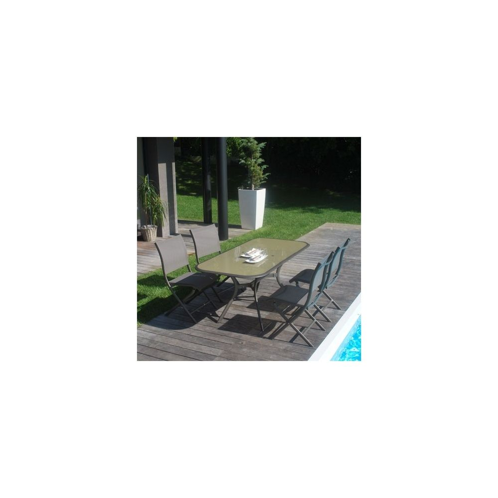 salon de jardin 6 personnes aluminium textil ne taupe bronze table 150 200 x 90 cm paradisio. Black Bedroom Furniture Sets. Home Design Ideas
