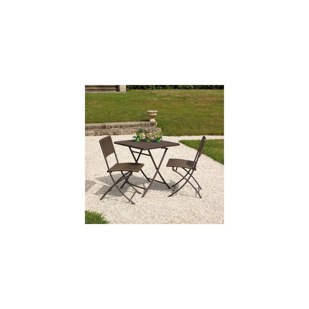table et chaises de jardin en resine tressee marron. Black Bedroom Furniture Sets. Home Design Ideas