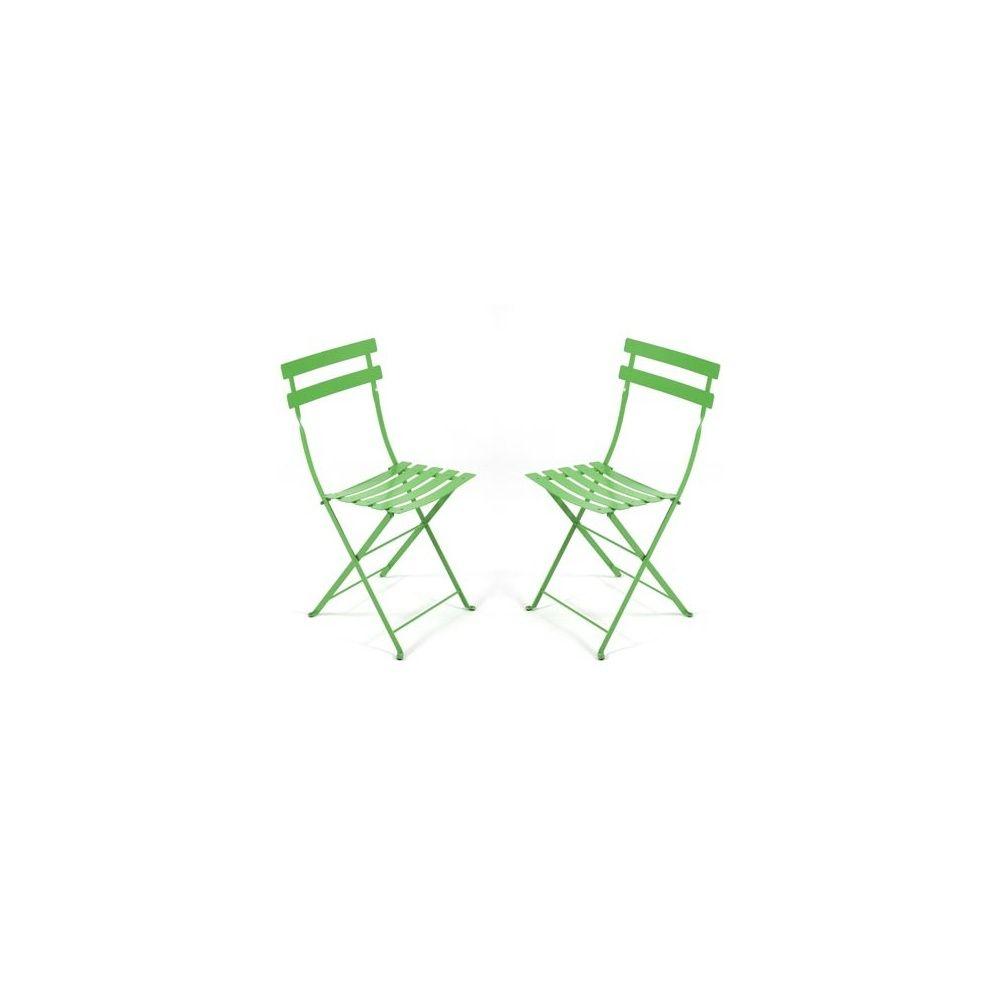 chaise pliante bistro en m tal vert prairie fermob lot de 2 plantes et jardins. Black Bedroom Furniture Sets. Home Design Ideas