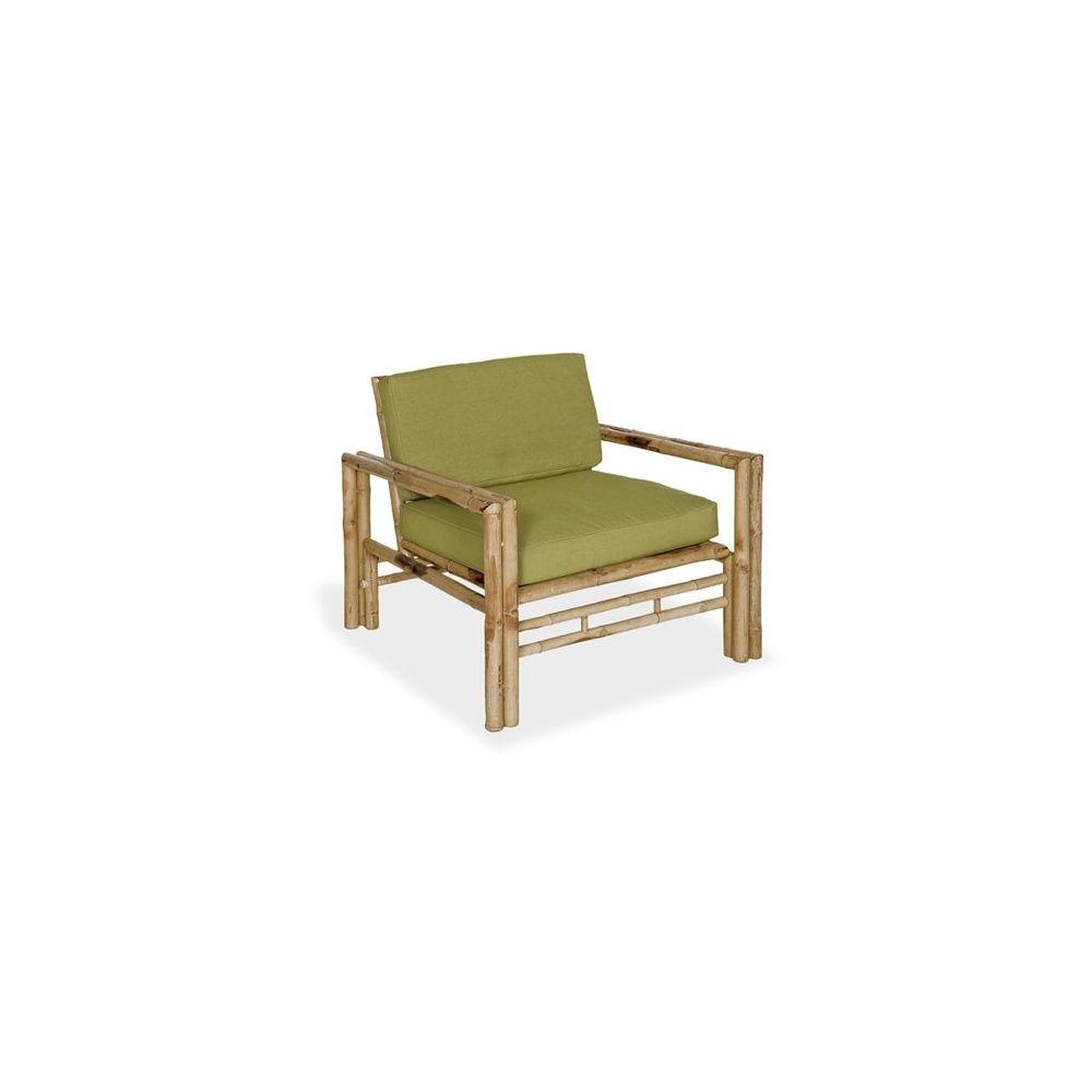 fauteuil de jardin en bambou coussins vert olive lot de 2 plantes et jardins. Black Bedroom Furniture Sets. Home Design Ideas