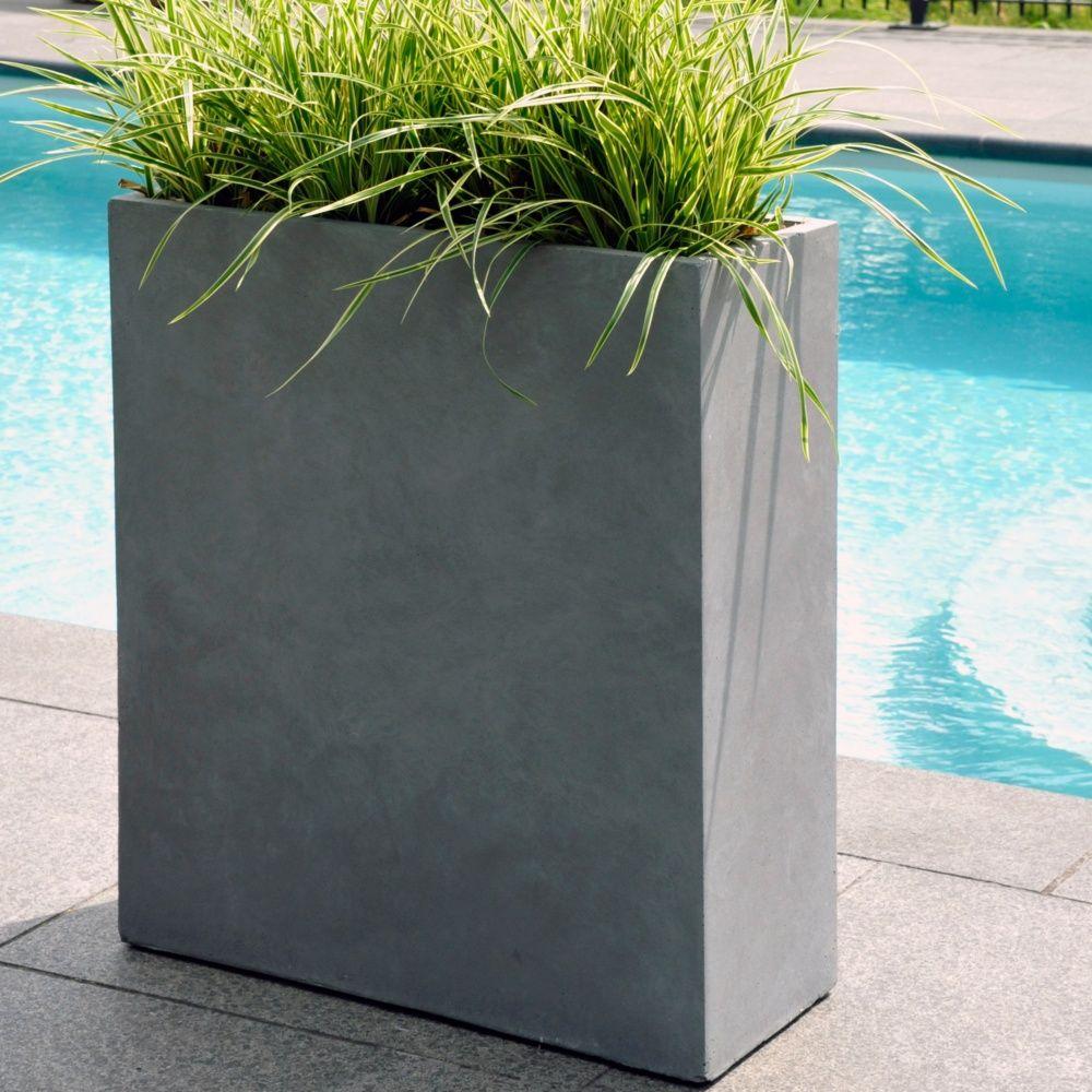Bac fleurs fibre de terre clayfibre l60 h72 cm gris for Bac plante jardin