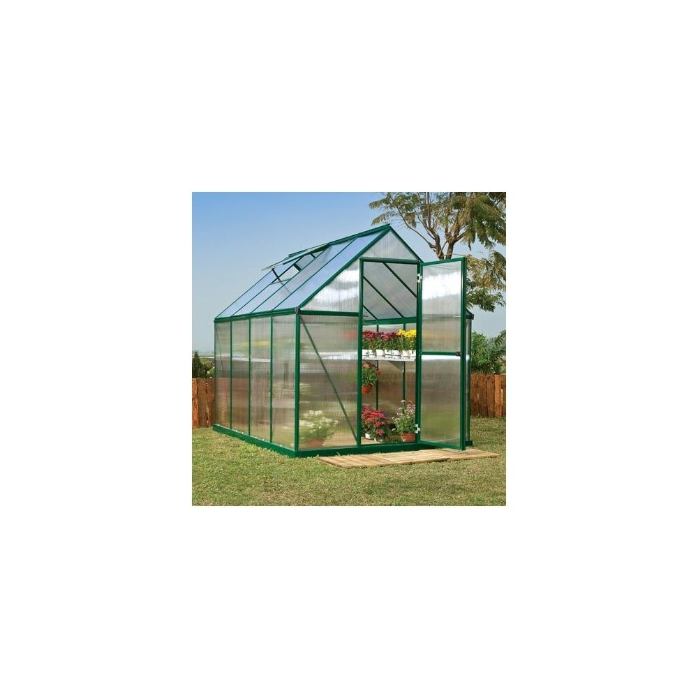 serre de jardin mythos 4 6 m2 laqu e verte polycarbonate double paroi embase plantes et. Black Bedroom Furniture Sets. Home Design Ideas