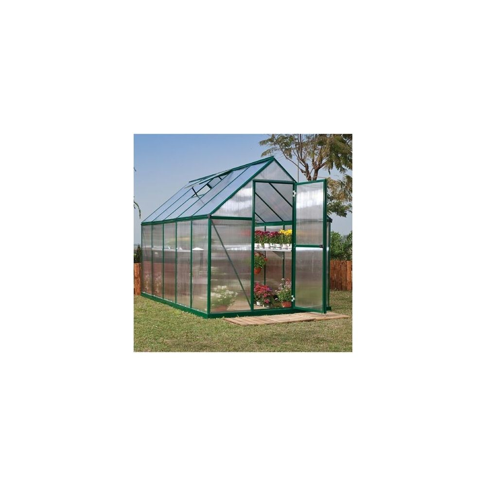 serre de jardin mythos 5 7 m2 laqu e verte polycarbonate double paroi embase plantes et. Black Bedroom Furniture Sets. Home Design Ideas