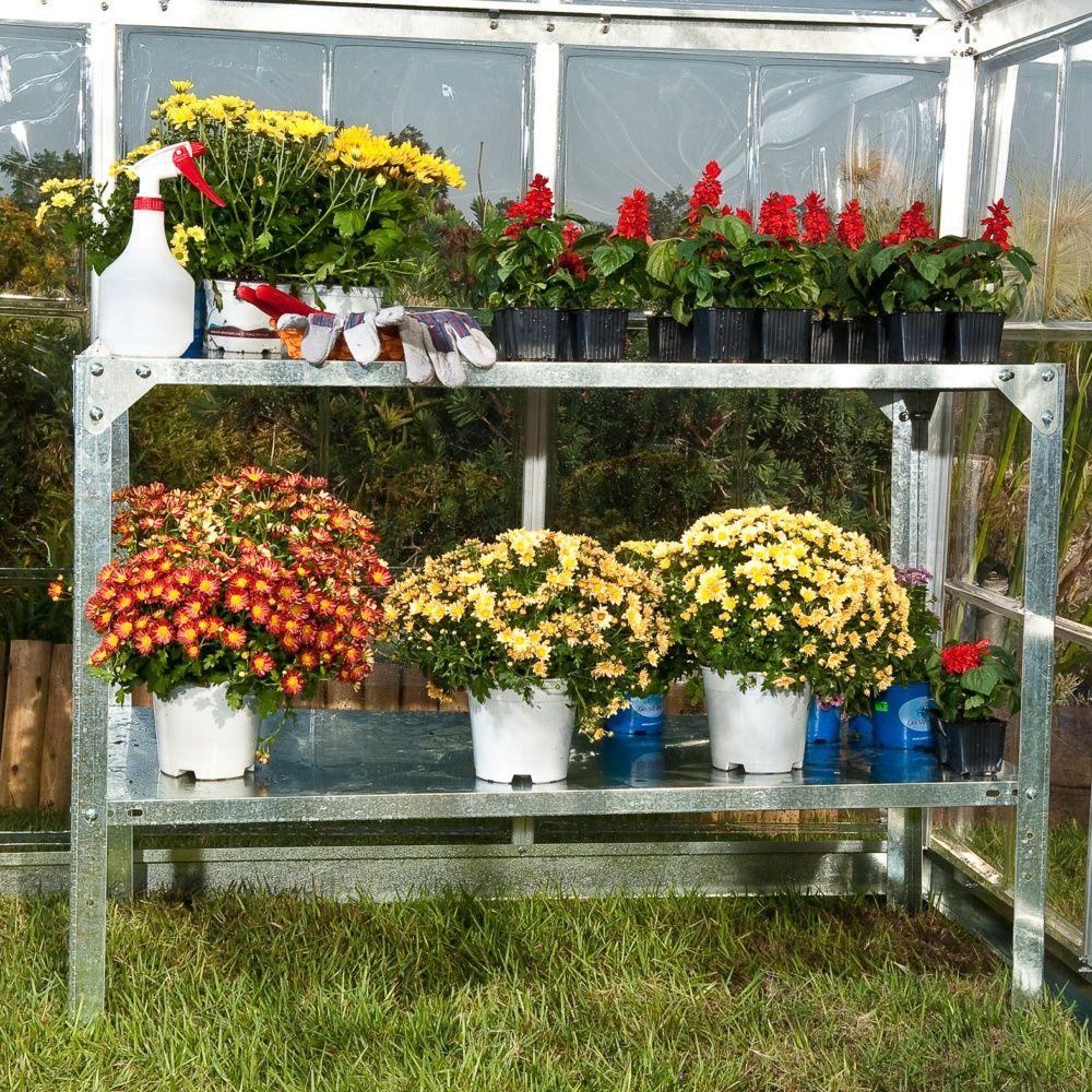 Table de culture pour serres en acier galvanisé   plantes et jardins