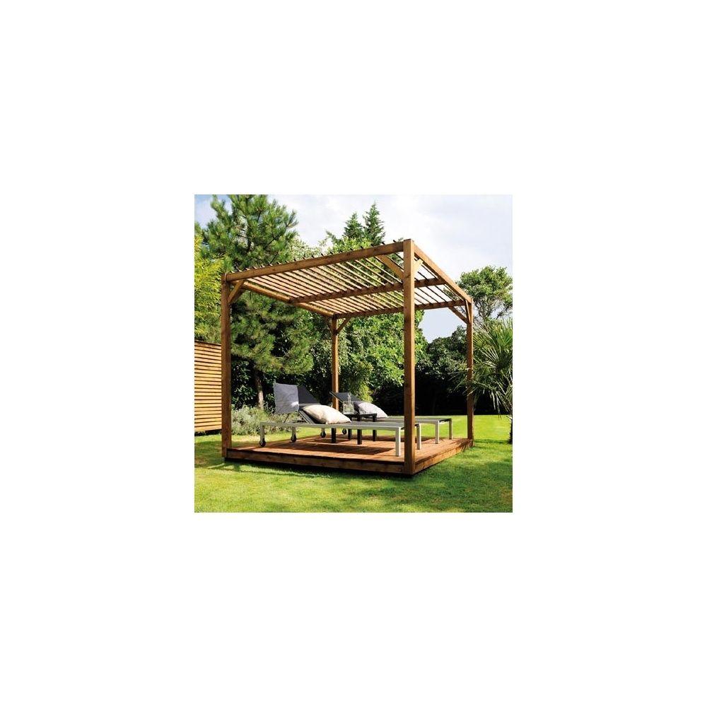Pergola en bois Cubik 2,50 x 2,50 m  sans les panneaux  ~ Pergola Bois Jardiland