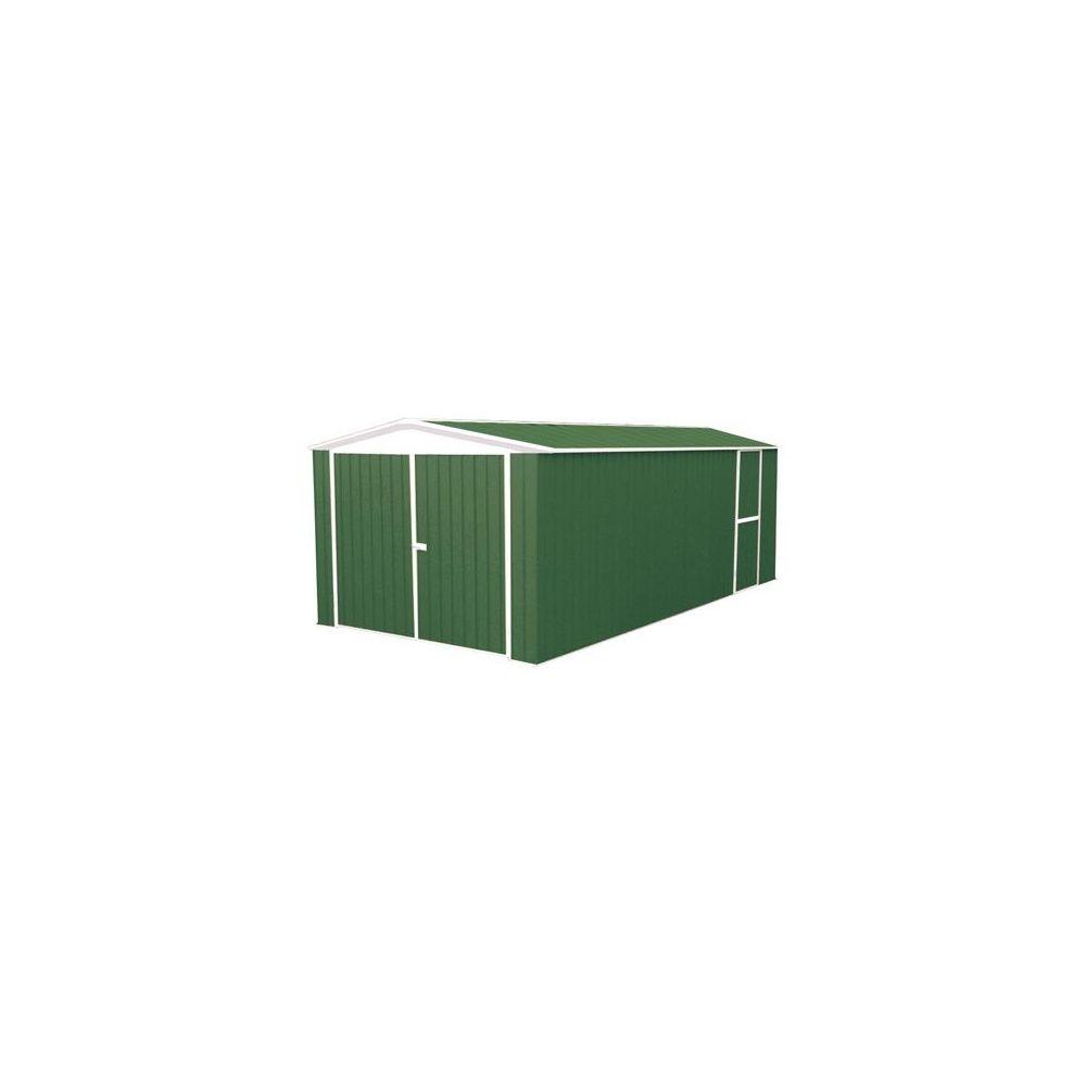 garage en m tal de 18 m hors tout absco coloris vert anglais plantes et jardins. Black Bedroom Furniture Sets. Home Design Ideas
