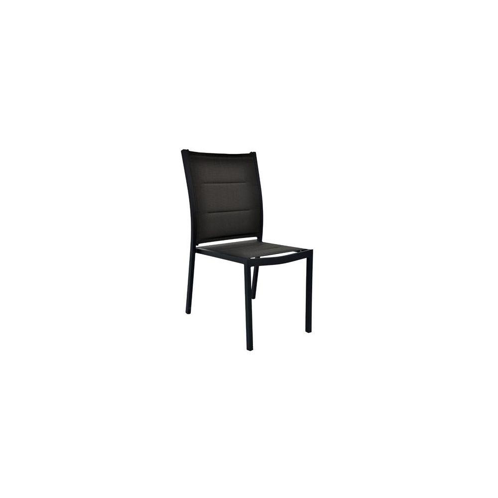 chaise boston empilable en aluminium lacqu anthracite et textil ne gaufre plantes et jardins. Black Bedroom Furniture Sets. Home Design Ideas