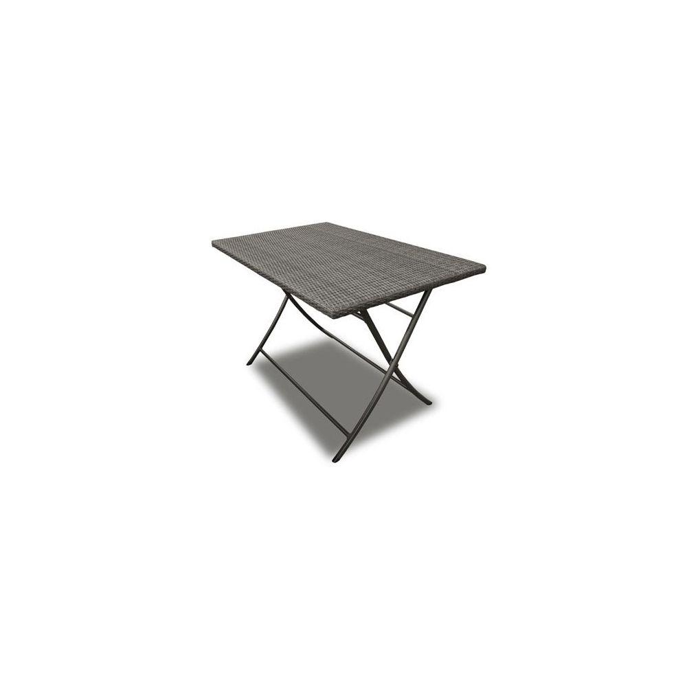 table pliante rico en r sine tress e 160 x 90 cm gris plantes et jardins. Black Bedroom Furniture Sets. Home Design Ideas