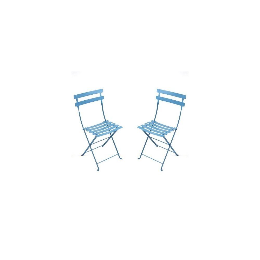 chaise pliante bistro en m tal turquoise fermob lot de 2 plantes et jardins. Black Bedroom Furniture Sets. Home Design Ideas