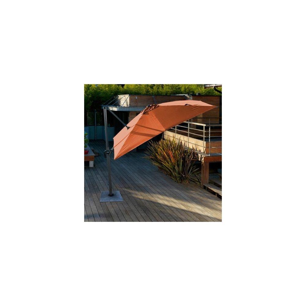 parasol d port orientable rotation 360 3 3 m aluminium et toile 200gr m terracotta. Black Bedroom Furniture Sets. Home Design Ideas