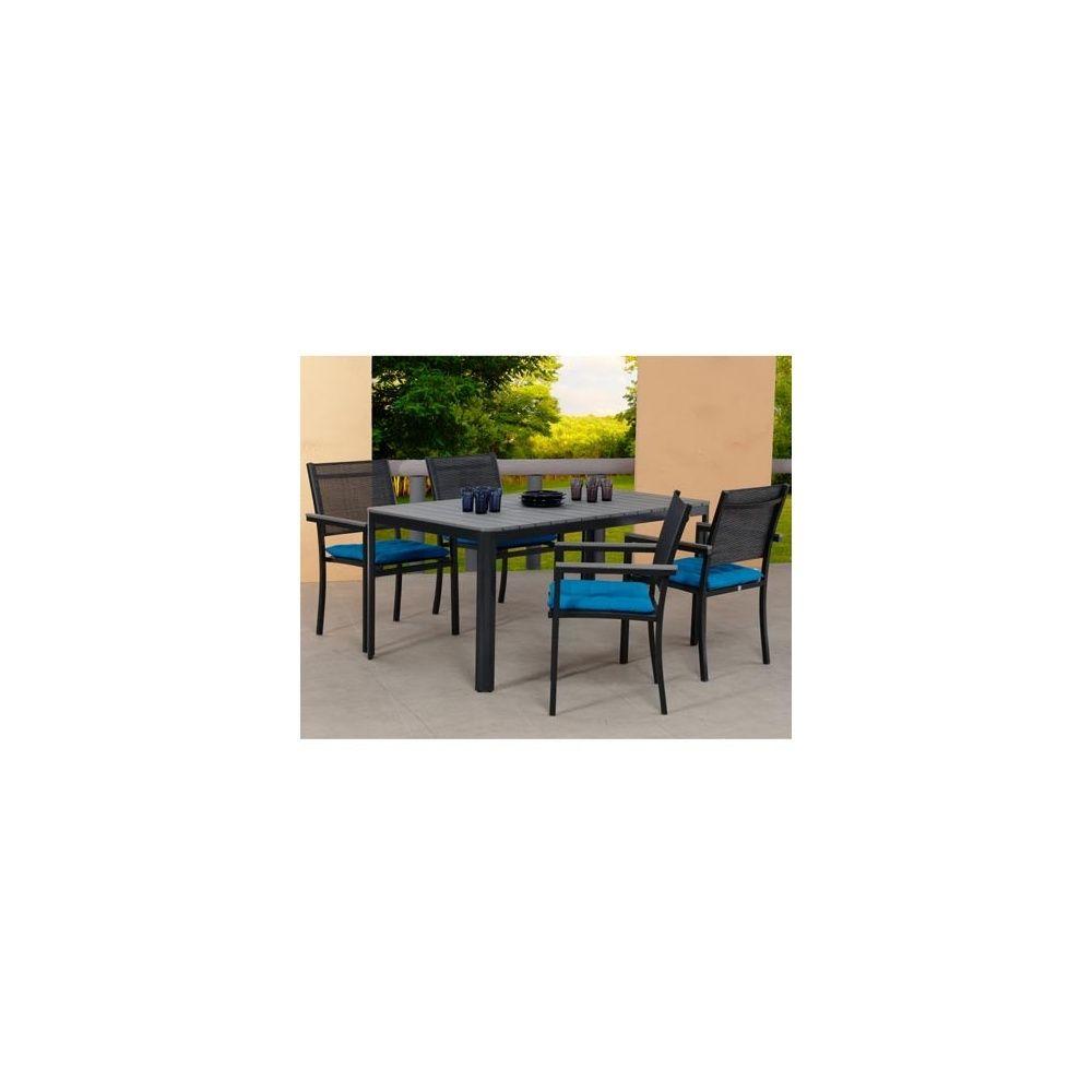 salon de jardin sao paulo table en polywood 160cm 4 chaises en aluminium et textil ne. Black Bedroom Furniture Sets. Home Design Ideas