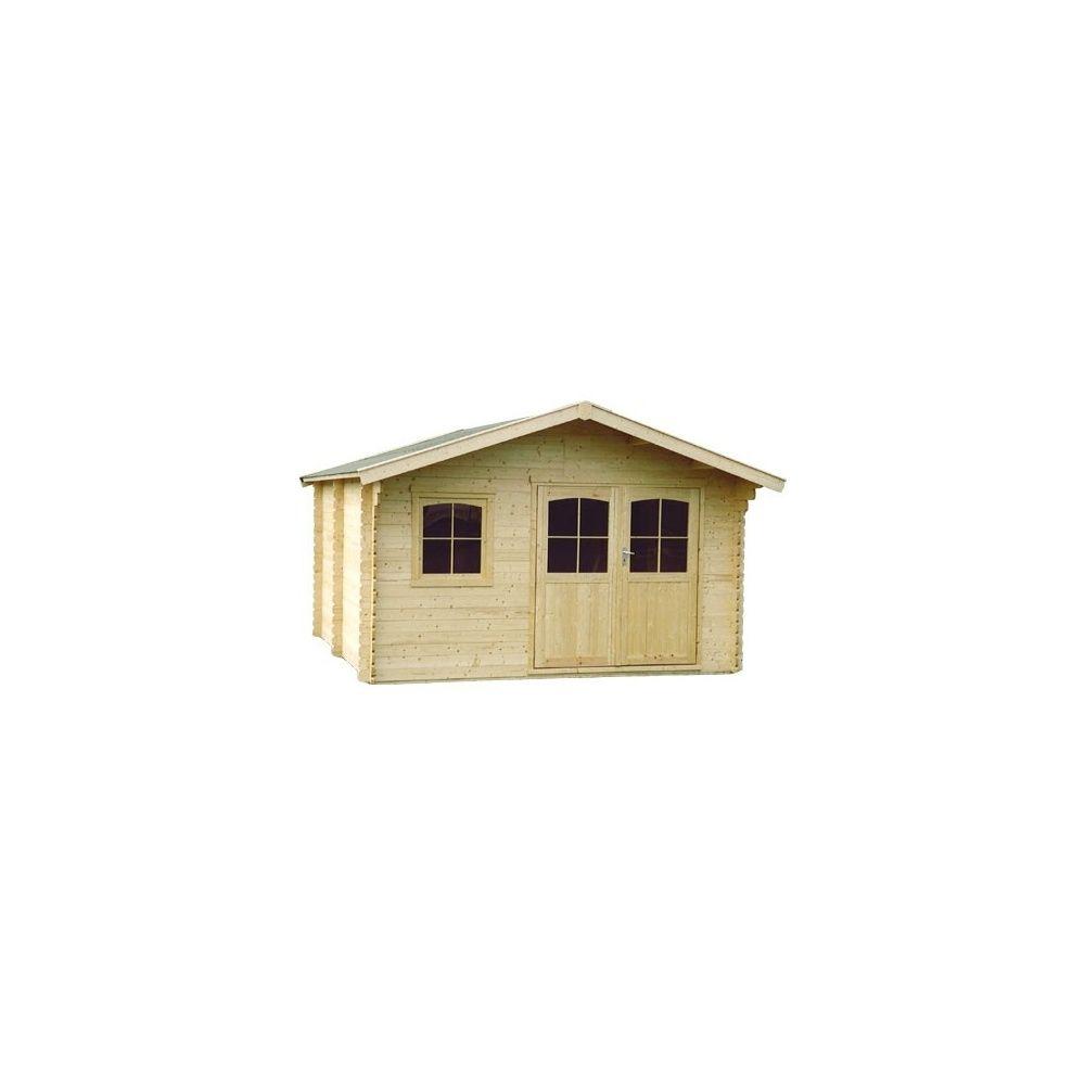 Abri de jardin 15 m2 bois 44 mm pefc t5 double porte for Porte abri de jardin en bois
