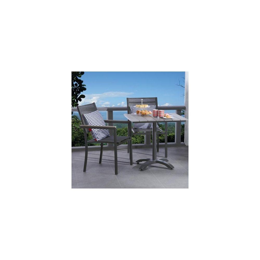salon de jardin table 70x70 polywood 2 fauteuils aluminium et textil ne plantes et jardins. Black Bedroom Furniture Sets. Home Design Ideas
