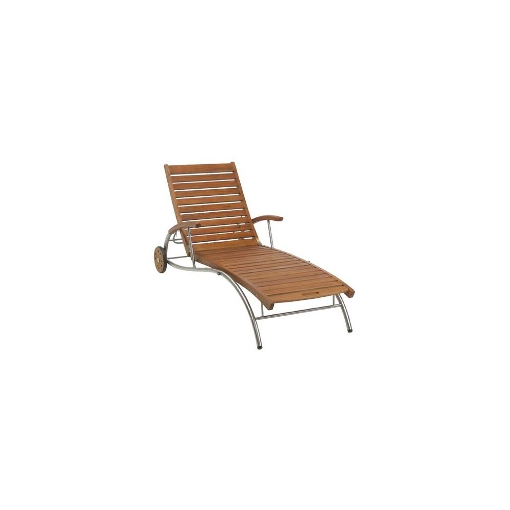 Chaise longue en inox acacia lake louise plantes et jardins for Chaise de jardin inox