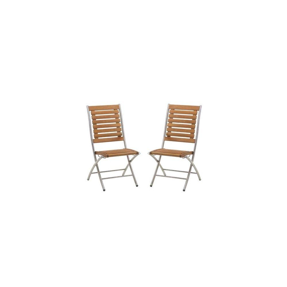 chaise pliante inox acacia lake louise lot de 2 plantes et jardins. Black Bedroom Furniture Sets. Home Design Ideas