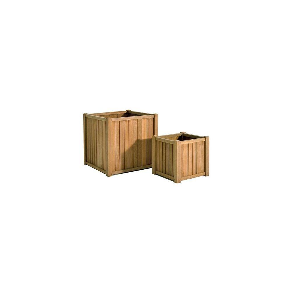 jardini re carr e en bois exotique 40 x 40 x 40 cm universo plantes et jardins. Black Bedroom Furniture Sets. Home Design Ideas