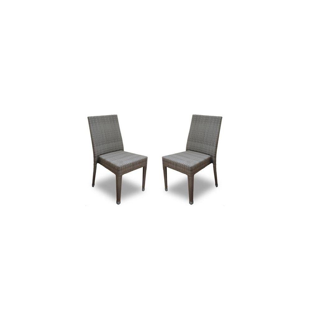 Chaise de jardin freiburg empilable en r sine tress e gris lot de 2 pla - Chaise de jardin en resine tressee ...