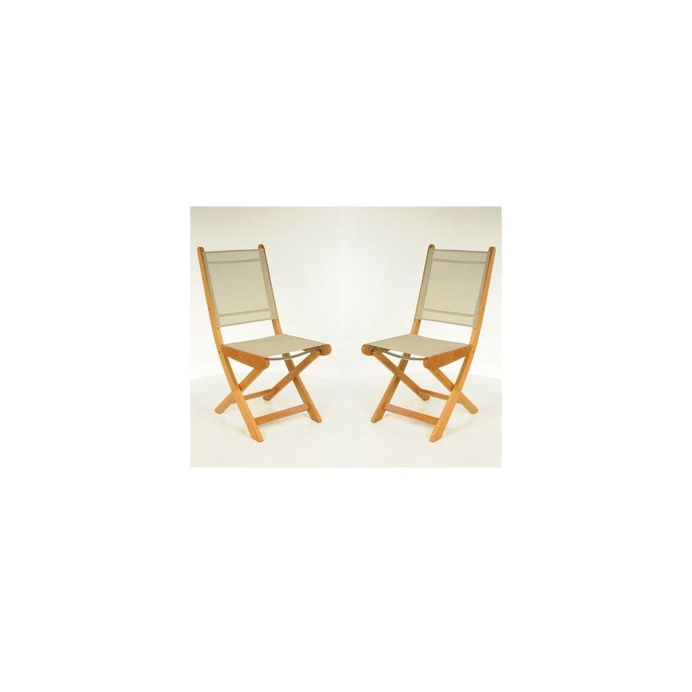 Chaise pliante Newton en teck FSC et textilène - Taupe - Lot de 2 ...
