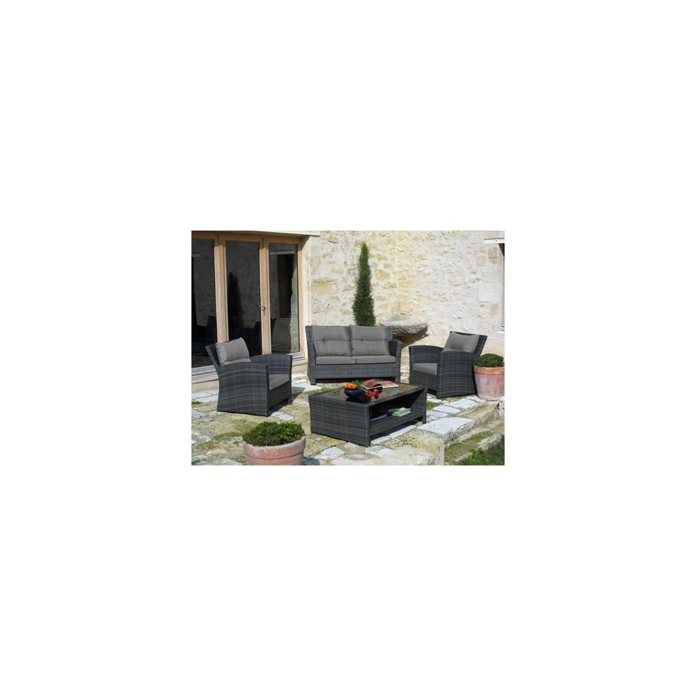 Salon de jardin 5 places en r sine tress e gris canap 3 for Canape de jardin gris